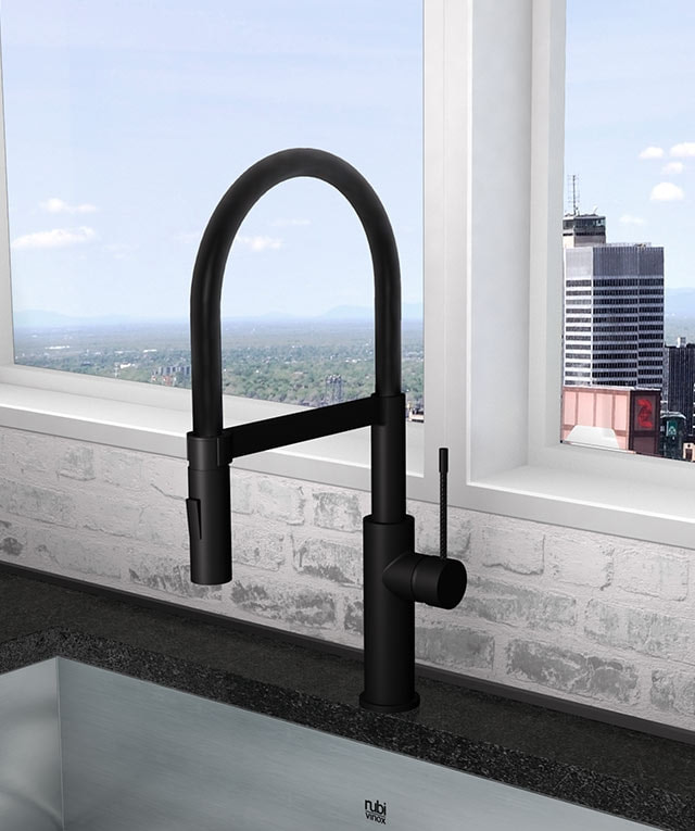 RUBI SOBA PROFESSIONAL STYLE KITCHEN FAUCET 2-JET SPRAY IN MATTE BLACK